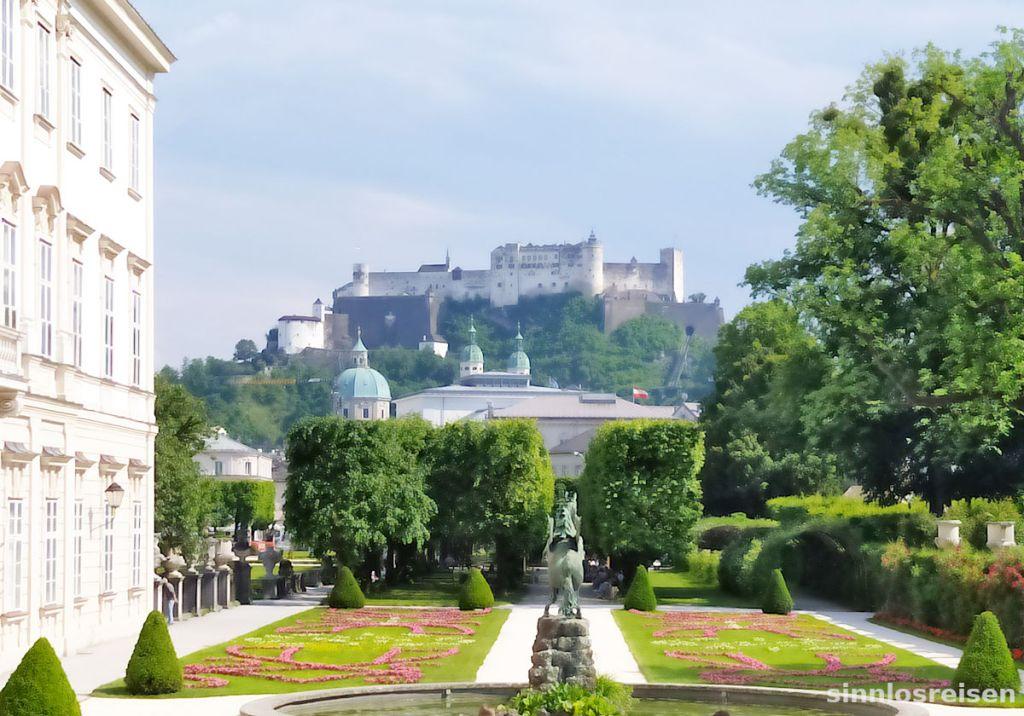 Blick von Schloss Mirabell auf Festung Hohensalzburg