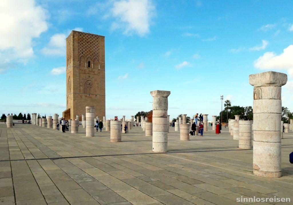 Ruinen der Almohaden Moschee in Rabat